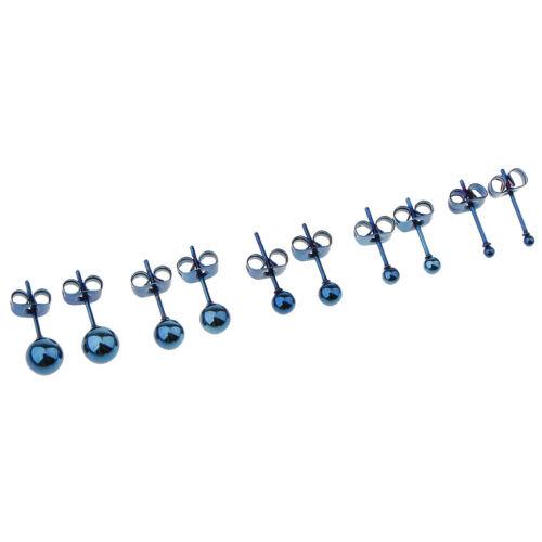 5 Paar Sortierte Kugel 2mm 6mm Runde Disc Kugel Edelstahl Ohrringe