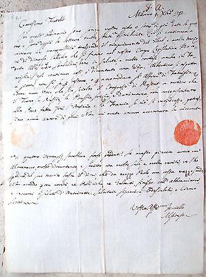 1797 LETTERA FAMIGLIA VISCONTI SU CONGRESSO DI RASTATT CLUB DEI GIACOBINI MILANO