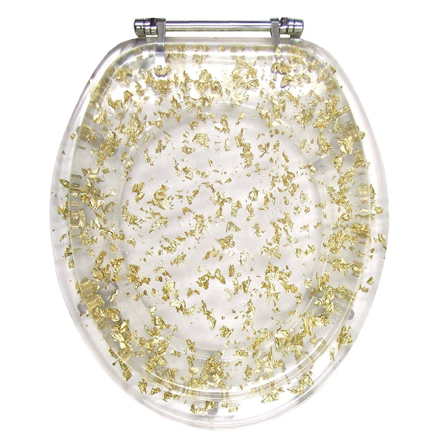 Gold FOIL FOIL FOIL RESIN ACRYLIC TOILET SEAT, ELONGATED ROUND WITH CHROME HINGES 172edb