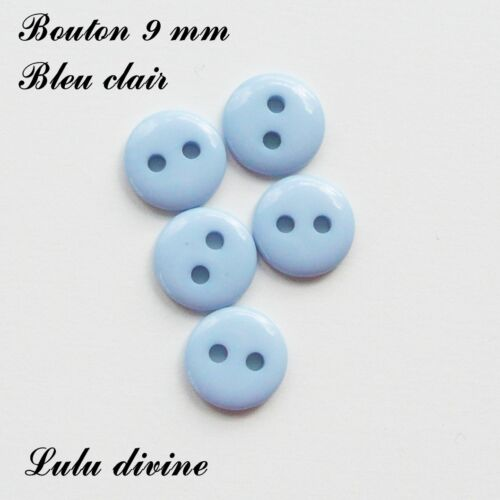 Bleu clair Lot de 10 Boutons Rond à 2 trous de 9 mm