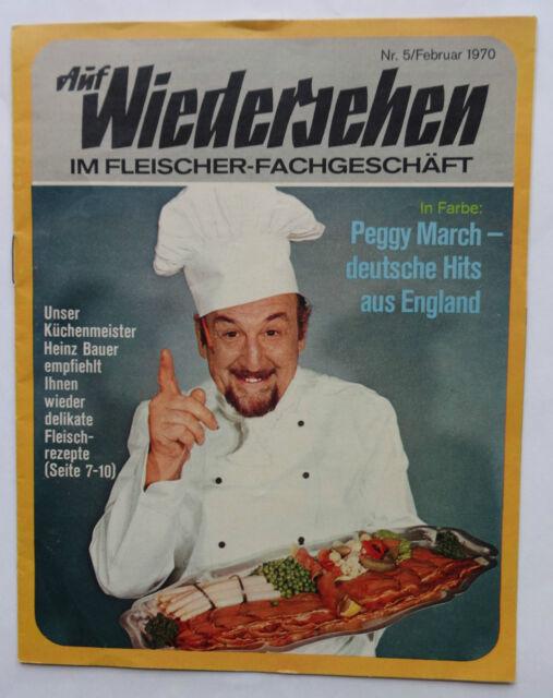 Vintage Zeitung Auf Wiedersehen i Fleischer Fachgeschäft Heinz Bauer Peggy March