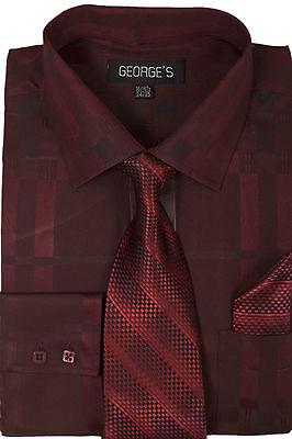 Men's Plaid Checks Jacquard Dress Shirt Set #623 Classic Cotton Blend