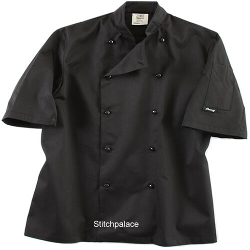 Dennys Lightweight White or Black Chef Jacket  Removable Stud XS-3XL L//S Sleeves