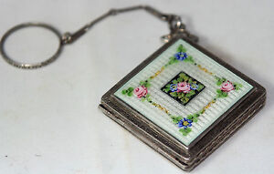 ANTIQUE-c1900-039-s-guilloche-FLORAL-ENAMEL-mirror-COMPACT-CHATELAINE-on-ring