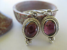 Garnet Silver Earrings ~ Red oval cabochon gemstones