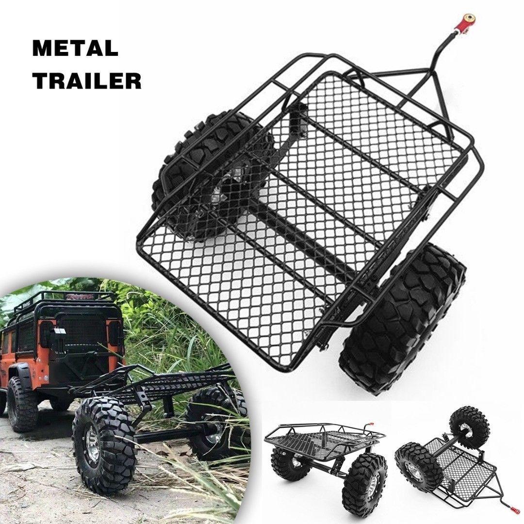 Rock Crawler Remolque De Metal + Neumático Para 1 10 Traxxas Axial SCX10 D90 CC01 rc coches