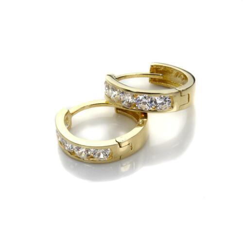 9ct Gold Crystal Set Huggies / Huggy Creole Hoop / Earrings / Hoops