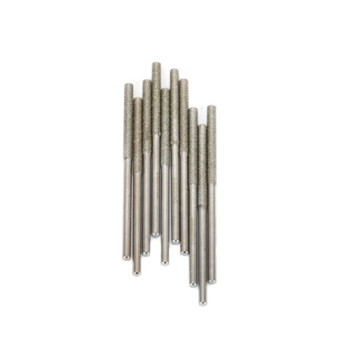 10Pcs 3MM Shank Diamond Coated Rods Rotary Burr cylindrical Grinding Tool