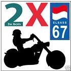2 stickers autocollants style plaque immatriculation moto Département 67 ELSASS