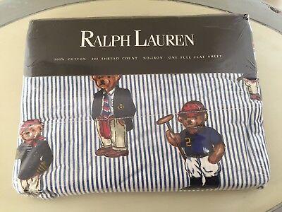 New ~ Ralph Lauren Teddy Bear Stripe  Flat Sheet - New ~ FIRST QUALITY ~ USA
