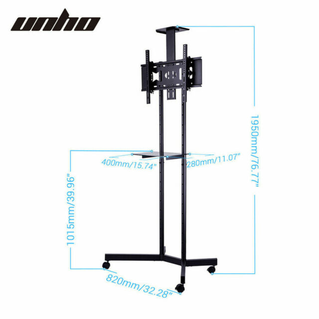 """Portable Mobile Trolley TV Stand Support for 32 - 65"""" Screen Wheels Adjustable"""