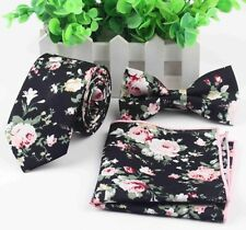New Black Pink Floral Skinny Tie, bow tie & Pocket Square. Excellent Reviews🇬🇧