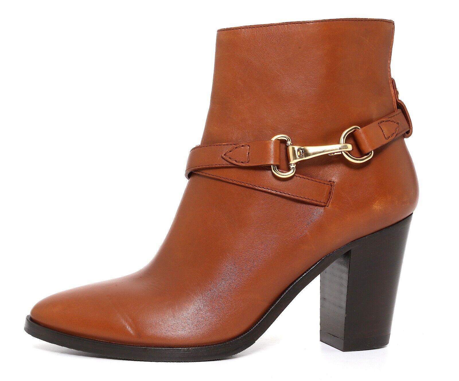 Burberry Side Zip Leather Bootie Brown Women Sz 39.5