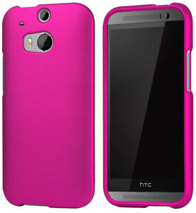 ROSE-PINK-RUBBERIZED-HARD-CASE-PROTEX-COVER-FOR-HTC-ONE-M8-PHONE-2014