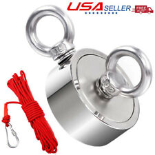 Double Sided Fishing Magnet Kit Upto 1300 Lbs Pull Force Strong Neodymium Rope