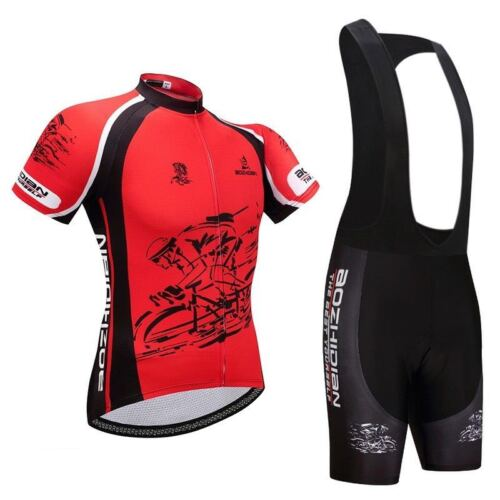Men/'s Bicycle Wear Kit Red Cycling Jersey and Padded Bike Shorts Bibs Set