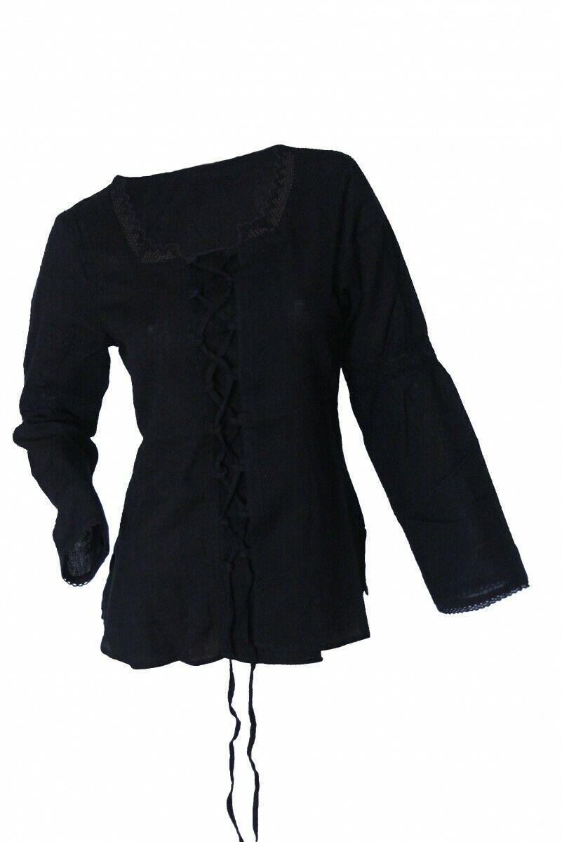 Mittelalter Larp Blause Top Damen Marie natur oder schwarz schwarz schwarz Borte Neu | Online-Shop  | Die Farbe ist sehr auffällig  | Schönes Aussehen  84ae65