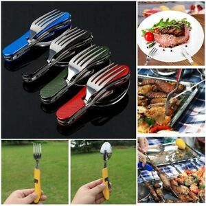 Opener-Folding-Forks-Camping-Pocket-Kits-Outdoor-Tableware-Fork-Spoon-Knife