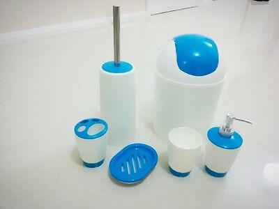 Bathroom Accessory Set Soap Dish Dispenser Tumbler Toothbrush Holder Waste Bin