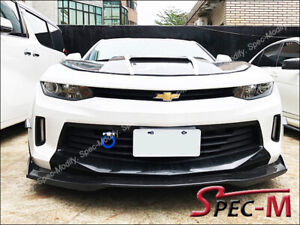 R1-Carbon-Fiber-Front-Bumper-Chin-Lip-w-Winglets-For-16-18-Camaro-I4-V6-RS-CF
