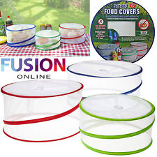 Pop Up Food Covers Collapsible Outdoor Picnic Protectors Kitchen Insect Net X 3