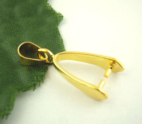 LOVE Gold Plated Pinch Clip Bail Beads Findings Jewellery Findings 8x22mm 50x