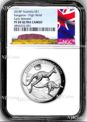 2018 P Australia HIGH RELIEF 1oz Silver Kangaroo $1 Coin NGC PF69 ER New Label
