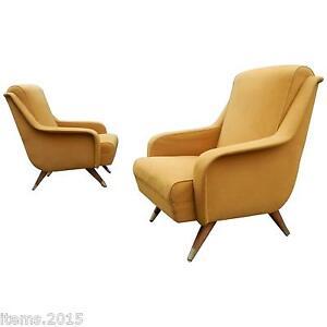 Original Paire De Fauteuils Vintage Vers 1950, Tissu D'origine Mode Attrayante
