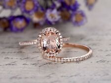 Engagement Wedding Bridal Ring Set 1.5Ct Morganite & Diamond 14K Rose Gold $899