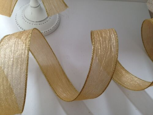 Golden ondulations Crêpe Crinkle Gold Mariages-luxe Wire Edged Ribbon