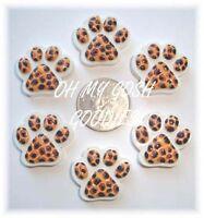 6pc Leopard Cheetah Paw Flatback Resins 4 Football Cheer Hairbow Bow Dog Collar