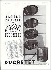 Publicité TSF Poste Radio Ducretet  photo vintage print ad  1936 - 5h