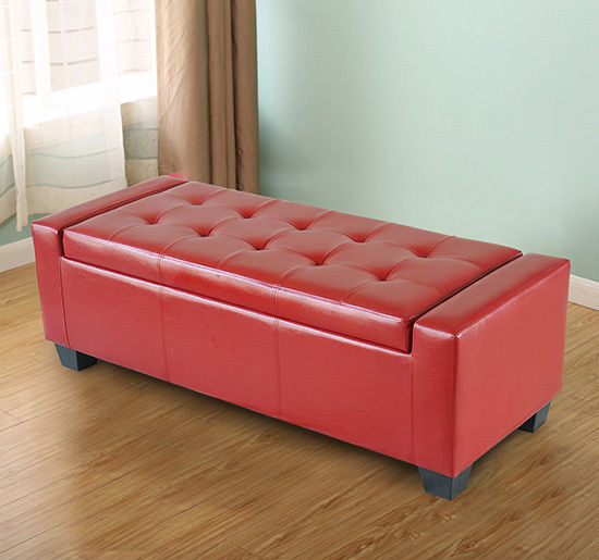 Homcom Modern Faux Leather Ottoman Footrest Sofa Shoe Storage Bench Seat Red Ebay