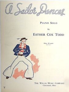 1940-Sheet-Vintage-Music-Esther-Cox-Todd-A-SAILOR-DANCES-Willis-Music-Co