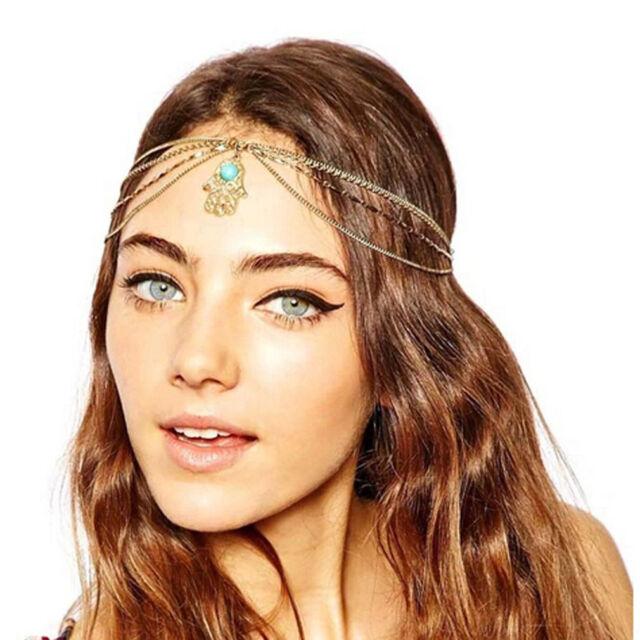 Women Hair Band Golden Chain Finger Headbands Wedding Hair Accessory Jewellery