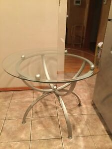 Glass Top Dining Tables Round Tempered Modern Chrome Kitchen Small