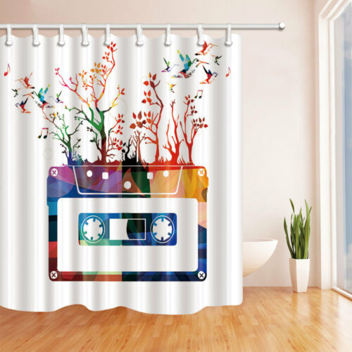 Colorful Cassette Tape Bathroom Fabric Shower Curtain Liner Bathmat Doormat Set