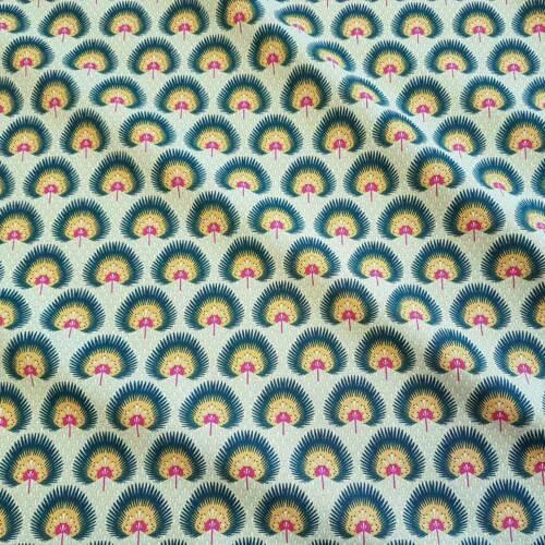 Tissu au mètre de coton DISTEL vert jaune rouge de France Dekostoff NEUF