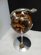 MID CENTURY  Art Glass Paperweight FROG ON CHROME STAND ..  BUBBLES  PEWTER