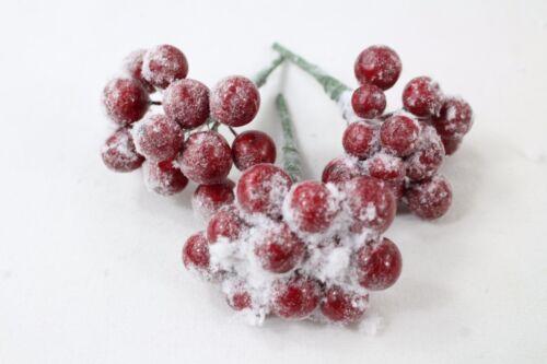 Superbe Rustique Rouge enneigée baies Pick Bouquet Décoration de Noël arbre de 3 ou 6