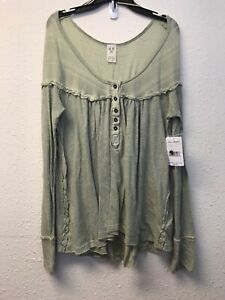 Free Henley Maat gewassen Army People M Ob844680 Under Down Nwt Dames Green Top OSnaxFFWq