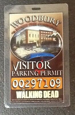 Walking Dead Parking Permit-Woodbury Vistor prop cosplay with clip.