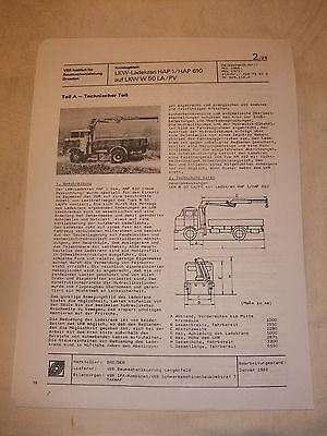 Ddr Radient Ddr Werbung Reklame Prospekt Datenblatt Lkw Ladekran Hap 1/610 W 50 La/pv 1982