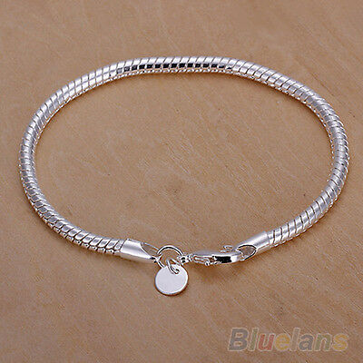 Women's Silver Plated 3mm Snake Chain Bangle Lobster Clasp Bracelet Natty