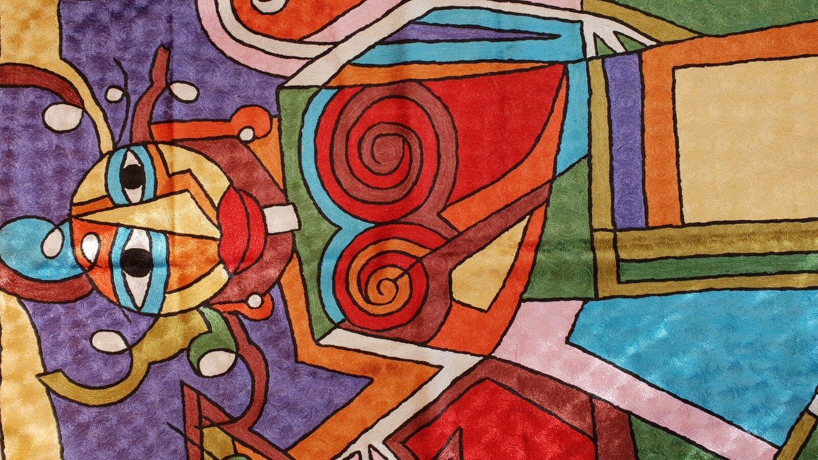 Silk Tapis de cachemire Abstrait Picasso Femme Design 3' x x 3' 5' d2e40f