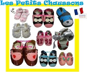 CHAUSSONS-CHAUSSURES-BEBE-CUIR-TISSU-DENTELLE-CUIR-PU-BABY-SLIPPERS-SHOES