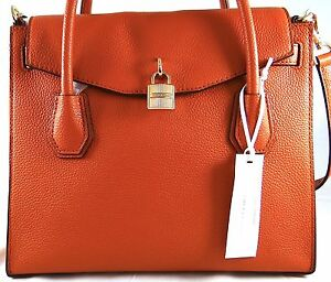 810015a41dfd Image is loading Michael-Michael-Kors-Studio-Mercer-Orange-Leather-Large-