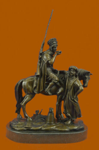 Eastern Arab Man Art Horse With Woman Bronze Sculpture Scene Bronze Statue T