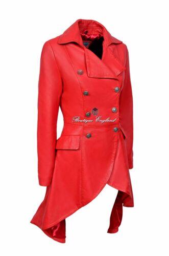 Gothic Washed Red Leather 3491 Victorian Jacket Edwardian Coat Ladies qaZfPP