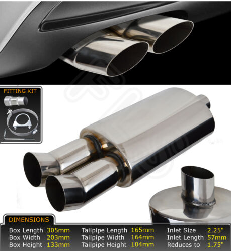 UNIVERSAL PERFORMANCE FREE FLOW STAINLESS STEEL EXHAUST BACKBOX LMO-003  RVR